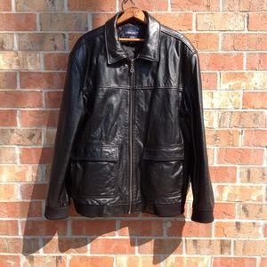 Men's Leather Vintage Cherokee Black Jacket Size L